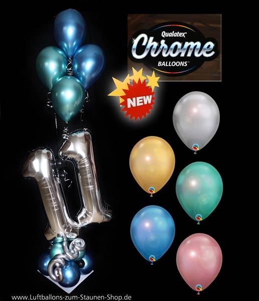 Ballon Luftballon Latexballon Chrome Balloons Qualatex Metall metallisch Heliumballon Deko Dekoration Geschenk Party Event glamourös edel silber gold grün blau mauve neu Zahlen Alter Kind Mädchen Junge Versand Helium Bouquet