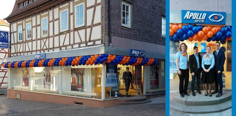 Girlande Luftballon Ballon Ballongirlande Dekoration Neueröffnung APOLLO OPTIK Michelstadt Fassade