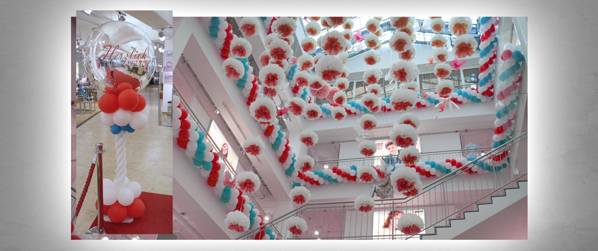 Luftballon-Dekoration Eröffnung Zeller Bock Modehaus Gebrüder Götz Würzburg