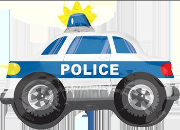 Polizei Polizeiwagen Polizeiauto Auto Streifenwagen Luftballon Ballon Folienballon Geschenk Junge Geburtstag Geburtstagsparty Feier Überraschung Helium Versand Kindergeburtstag