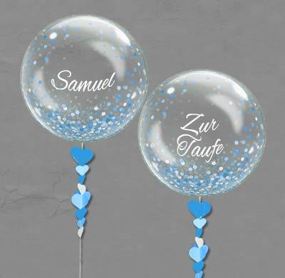 Bubble Ballon Luftballon Kommunion Mitbringsel Taufe Junge blau  Geburtstag Geschenk beschriftet Helium Heliumballon personalisiert individuell Namen Versand Wunschbubble Herz Konfetti durchsichtig