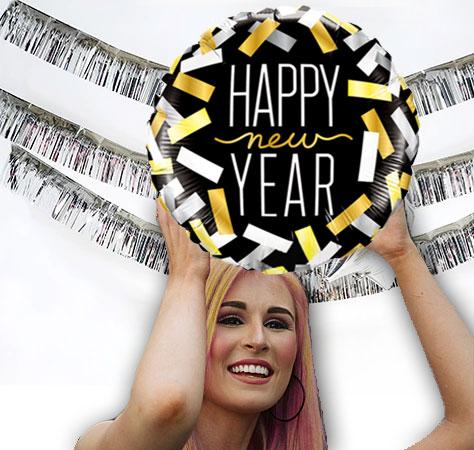 Girlande Vorhand Glitter Folie Foliengirlande Glittergirlande silber gold Party Feier Silvester Neujahr Weihnachten Geburtstag Baby Junge Mädchen Happy new year