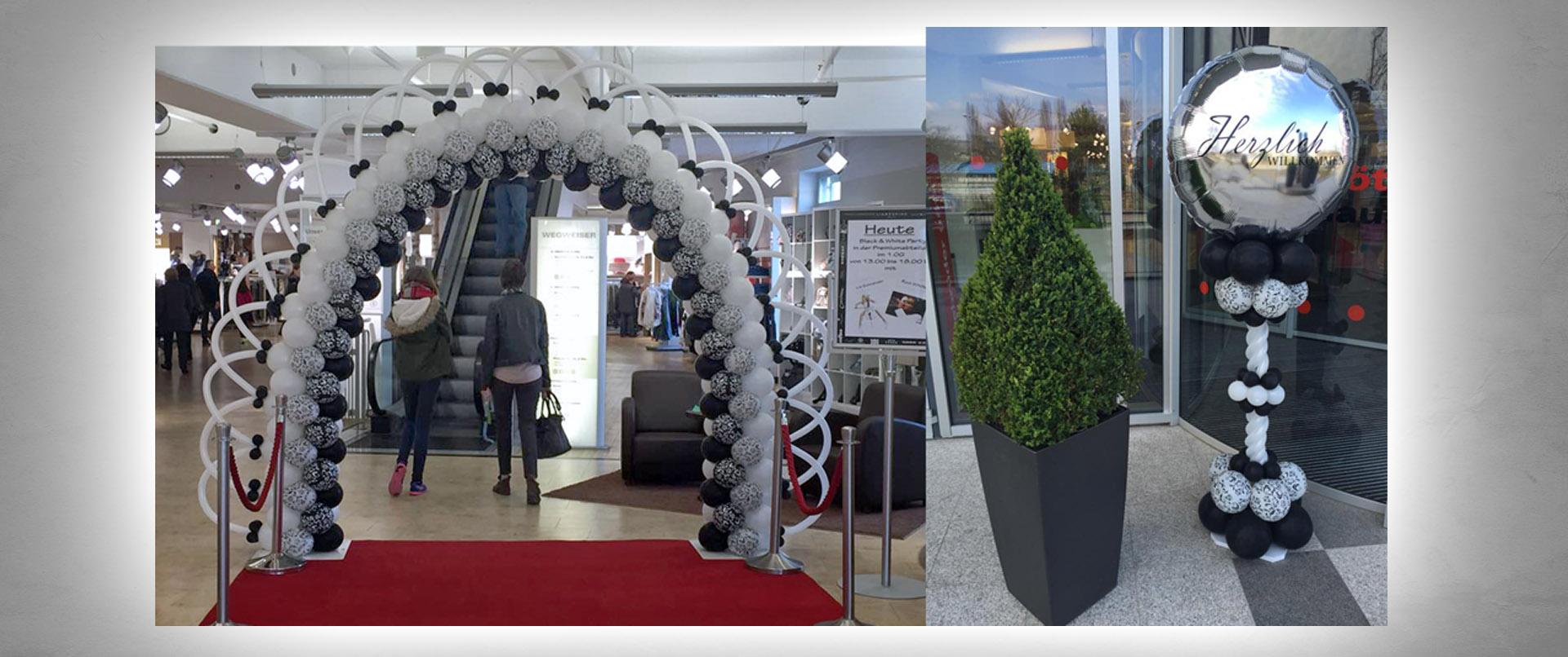 Luftballon-Dekoration Eröffnung Premiumabteilung Modehaus Gebrüder Götz Würzburg