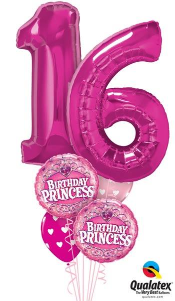 Ballon Bouquet 16.  Geburtstag Princess Happy Birthday Mädchen Luftballon Folienballon heliumgefüllt Versand Party Deko Dekoration XXL Zahl Ballonzahl Heliumzahl