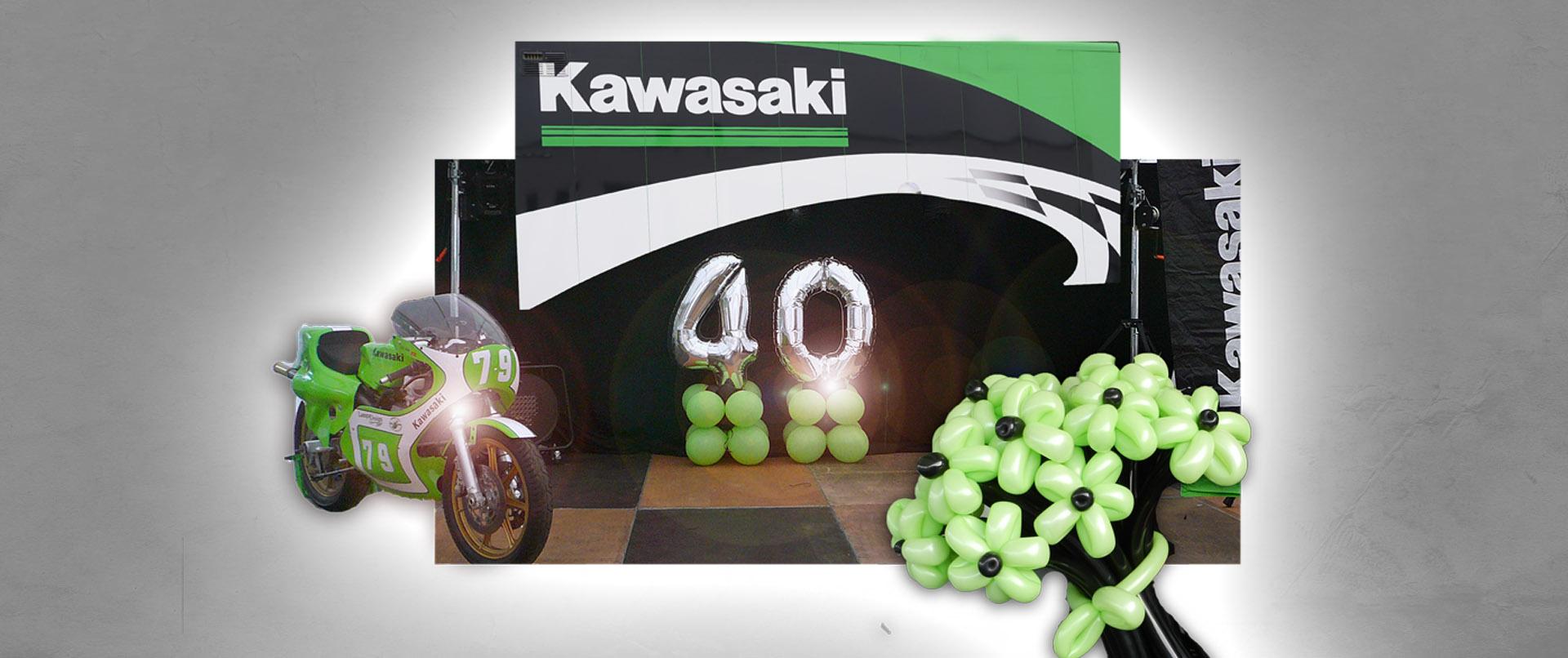 Luftballon-Dekoration 40-jährigens Jubiläum Kawasaki Deutschland