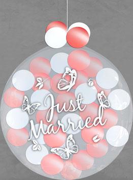 Riesenballon befüllt Ballonregen Luftballon Ballon Just Married Hochzeit Polterabend Überraschung