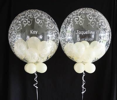 Bubble Ballon Luftballon Hochzeit ivory Geschenk durchsichtig beschriftet Helium Heliumballon personalisiert individuell Namen Versand Wunschbubble Muster Schnörkel Brautpaar Hochzeitsdatum Datum Mitbringsel