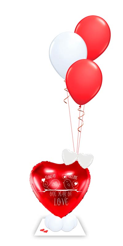 Ballon Luftballon Heliumballon Deko Dekoration Überraschung Mitbringsel Ballonpost Ballongruß Versand verschicken Ich liebe dich Herz One year of love Geburtstag Jahrestag Hochzeitstag Geschenk Idee Ballonpost Bouquet Heliumballons personalisiert Bouquet