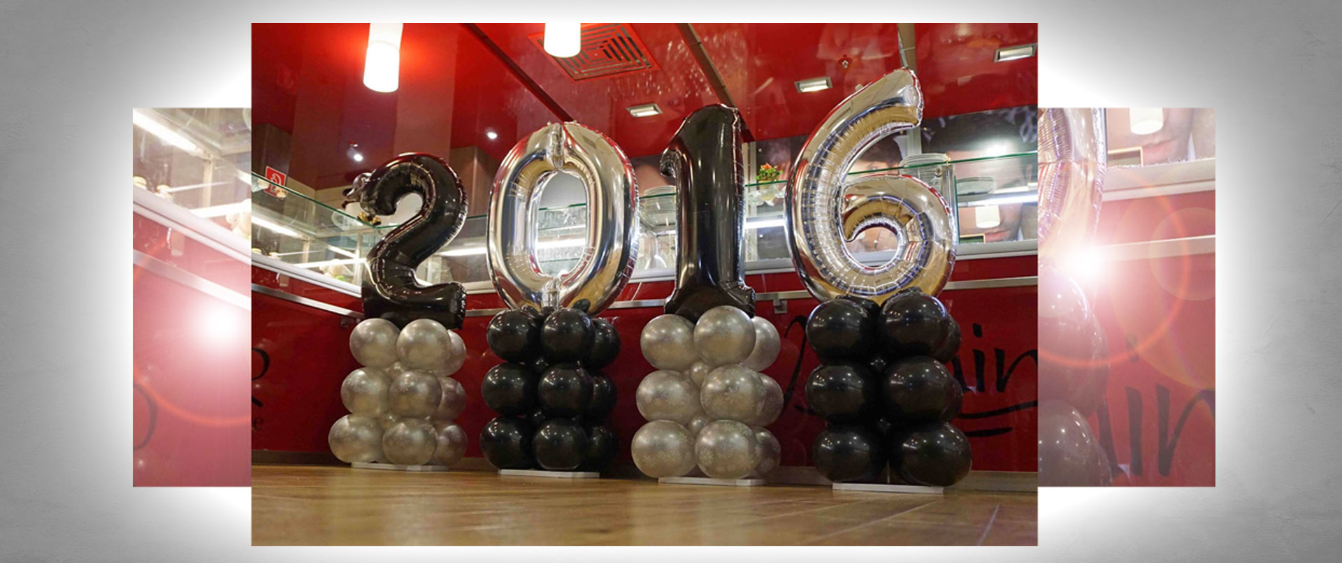Luftballon-Dekoration Neujahrsparty Modehaus Gebrüder Götz Würzburg