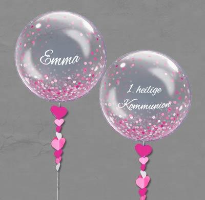 Bubble Ballon Luftballon Kommunion Mädchen Mitbringsel Geschenk beschriftet Helium Heliumballon personalisiert individuell Namen Versand Wunschbubble Herz Taufe Geburtstag pink rosa Konfetti durchsichtig