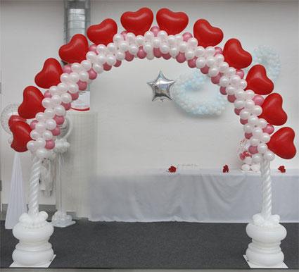 Ballon Luftballon Bogen Dekoration Deko Hochzeit Eingang Herzen Ballonbogen elegant modern Hochzeitsbogen