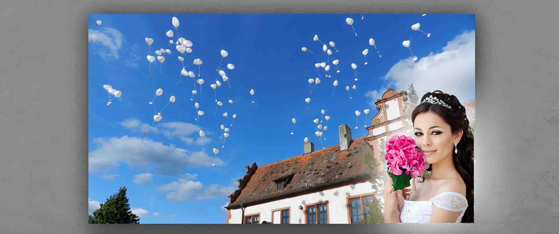 Ballon-Weitflug Hochzeit Schloss Grumbach in Rimpar