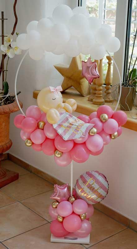 Baby Babyparty Babyshower Party Feier Geburt Ballon Luftballon Kunst Junge Mädchen Überraschung Deko Dekoration pastell blau rosa Geschenk Mitbringsel Welcome Boy Girl