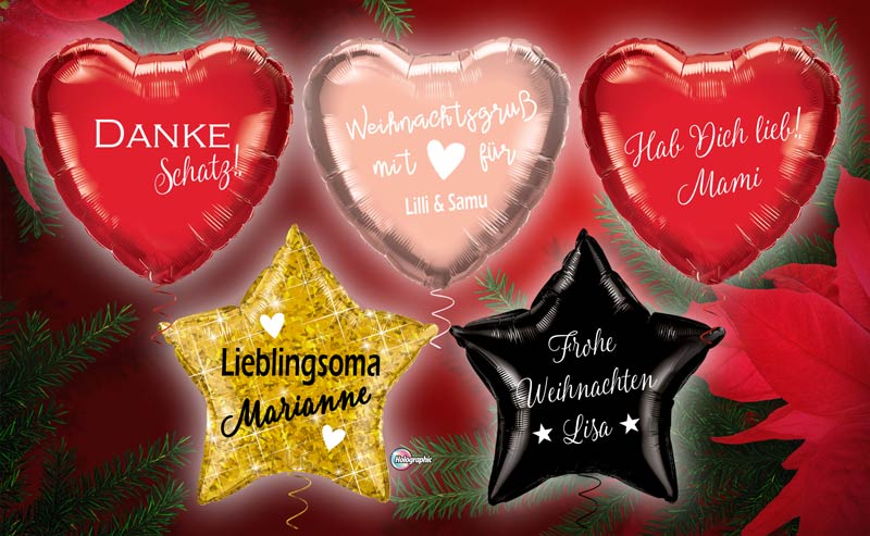 Luftballon Ballon Folienballon Herz Stern holographisch mit Text individuell Wunschtext personalisiert Personalisierung mit Namen Botschaft Weihnachtsbotschaft Danke Weihnachtsgruß Geburtstag Muttertag Lieblingsoma Lieblingsopa