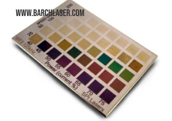 Grabado con laser MOPA colores sobre metales