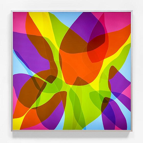 o.T. (L 13-2012), Anodized aluminum, self-adhesive films on plexiglass, 130×130×13cm