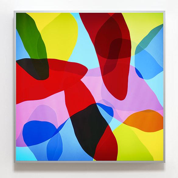L23-11 - 2011, Farbfolie auf Plexiglas, 130 × 130 × 13 cm