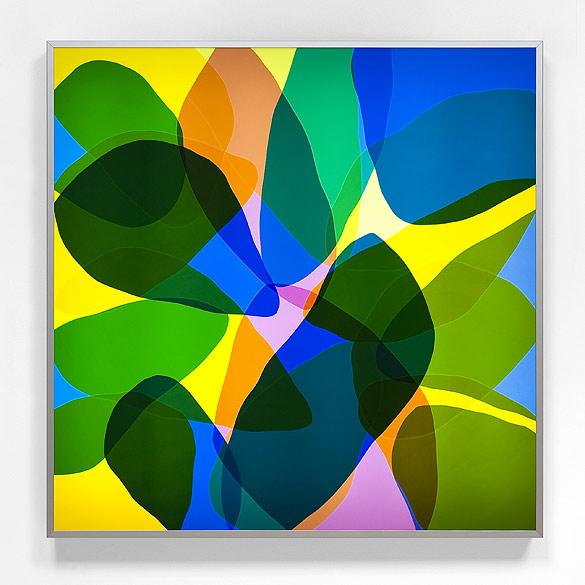 o.T. (L 29-2011), Anodized aluminum, self-adhesive films on plexiglass, 130×130×13cm