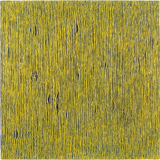 o.T. (LW 01-2003), Hot glue and oil stick on canvas, 100×100cm