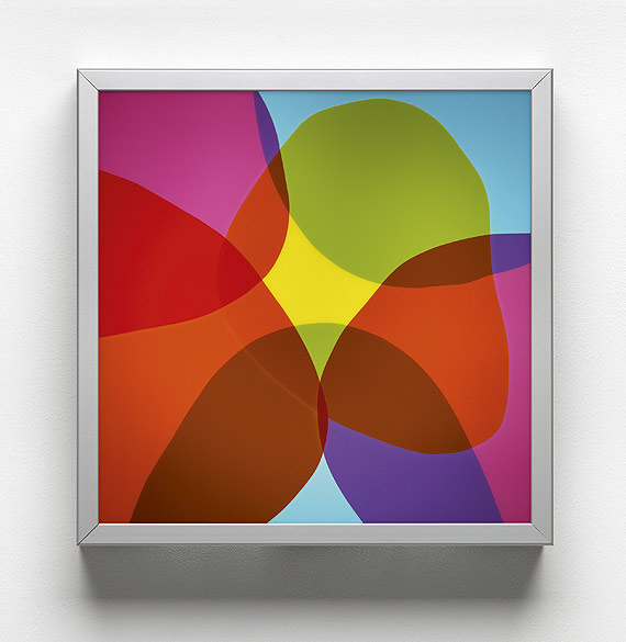 o.T. (L 03-2009), Anodized aluminum, self-adhesive films on plexiglass, 40×40×10cm