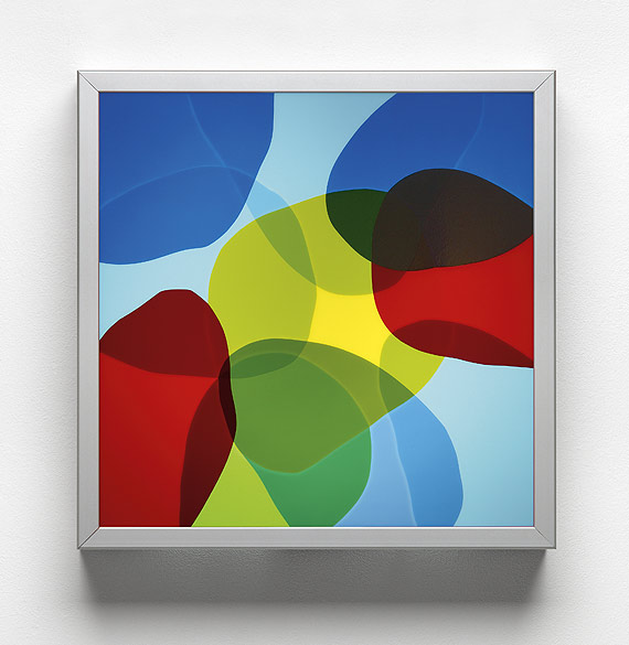 o.T. (L 01-2009), Anodized aluminum, self-adhesive films on plexiglass, 40x40×10cm
