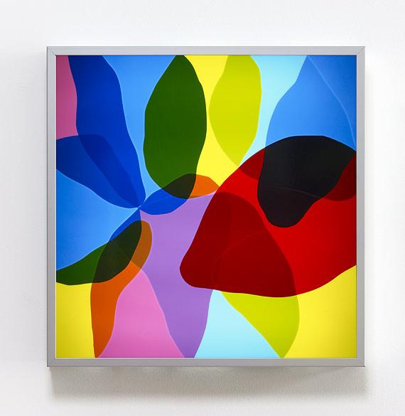 o.T. (L 17-2011), Anodized aluminum, self-adhesive films on plexiglass, 65×65×10cm