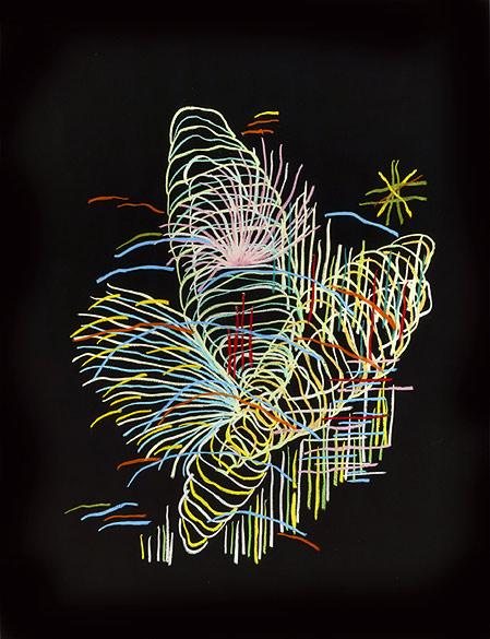 o.T. (PZ 04-2013), Oil pastel on cardboard on Aludibond, Diasec, 98,5×75,5cm