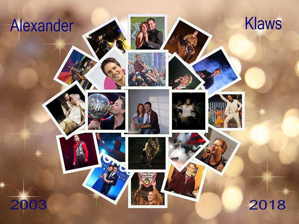 Collage zum 15. Bühnenjubiläum von Alex  © Offizieller Alexander Klaws Fanclub