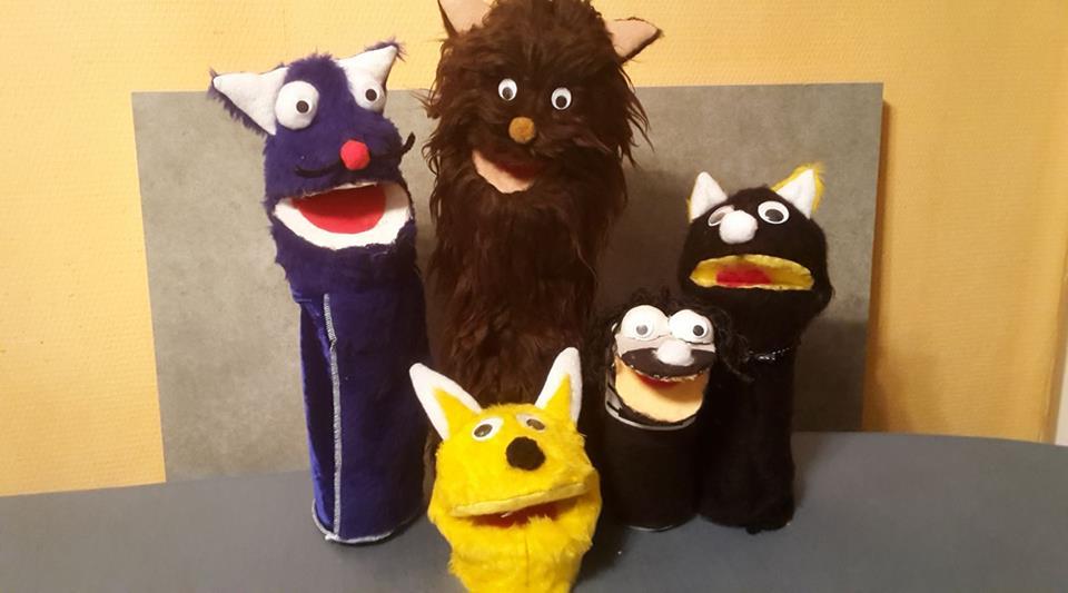 Marionnettes en feutrine et  fourrure  (matelas recyclé pour al tête !)