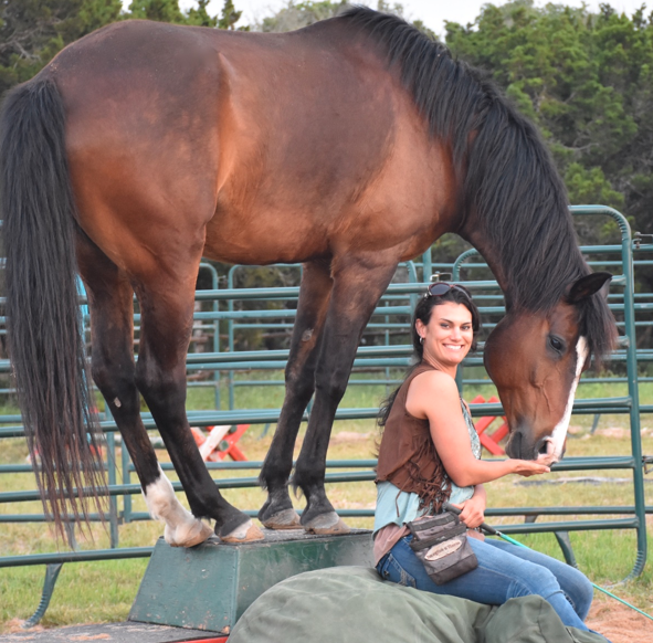 Camp participant Ginger Simpson with equine friend