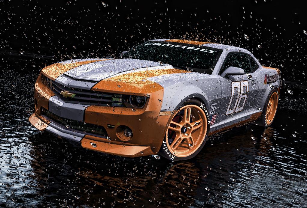 Car Rendering- Regentropfen und Wasser