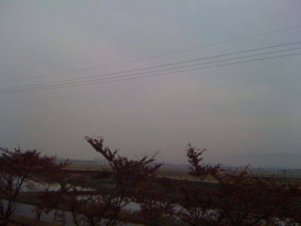 朝7時集合で荒神山グランドへ。朝もやが立ちこめています(・_・;