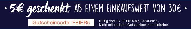 5 Euro geschenkt ab 30 Euro Einkaufswert!