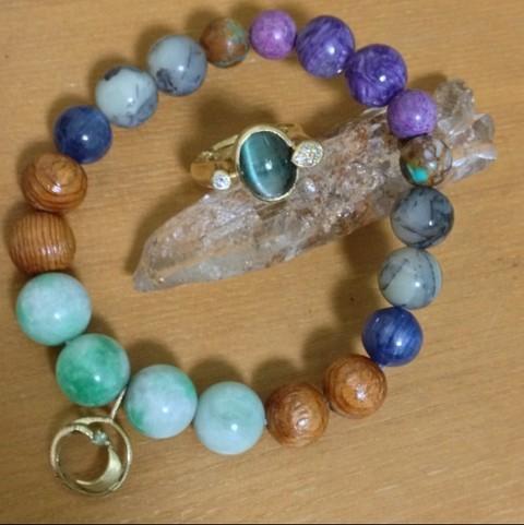 ヒマラヤ水晶、トルマリンリング、ヒマラヤ水晶