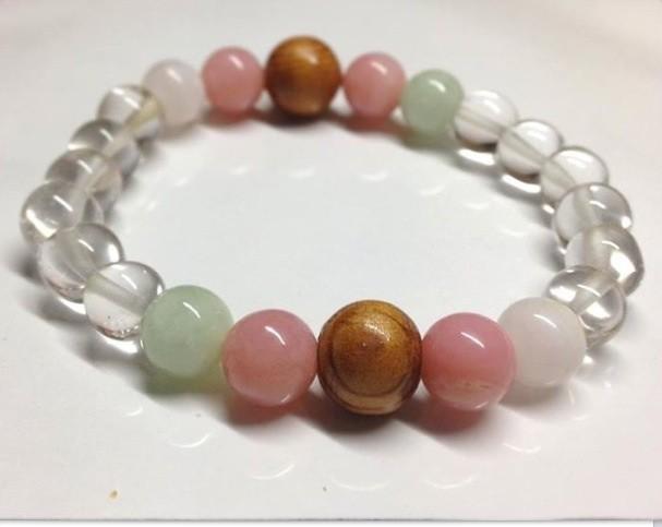 屋久杉ヒマラヤ水晶ピンクオパールブレスレット