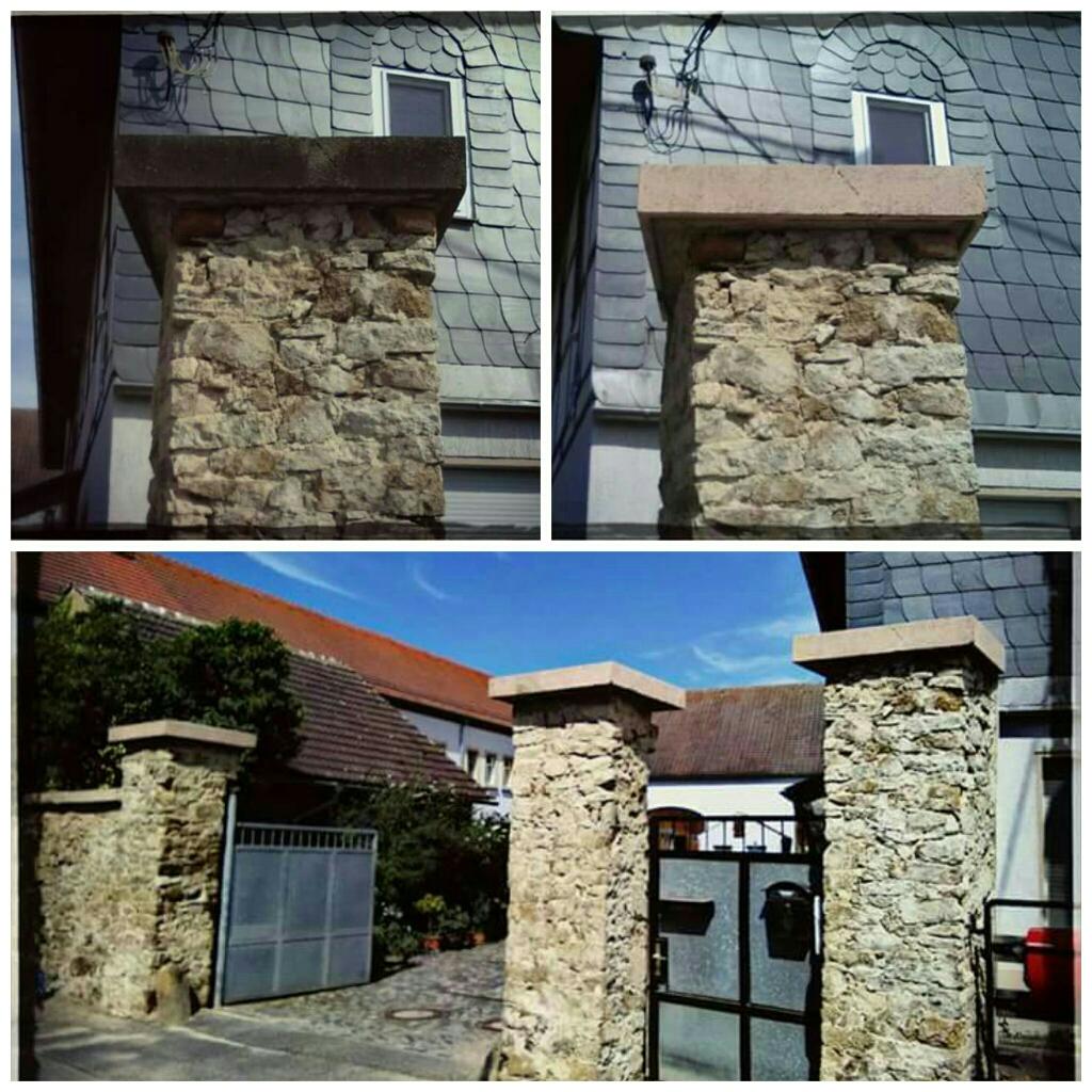 Mauerabdeckungen aus Rochlitzer Porphyr