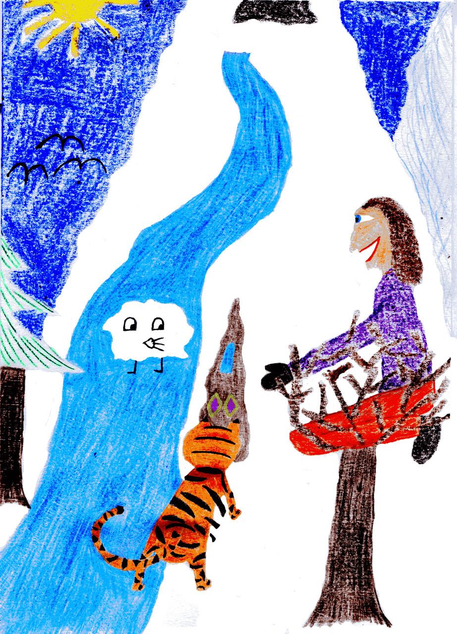 Dorothea und der Tiger graben einen Grottenmurmler aus dem Schnee