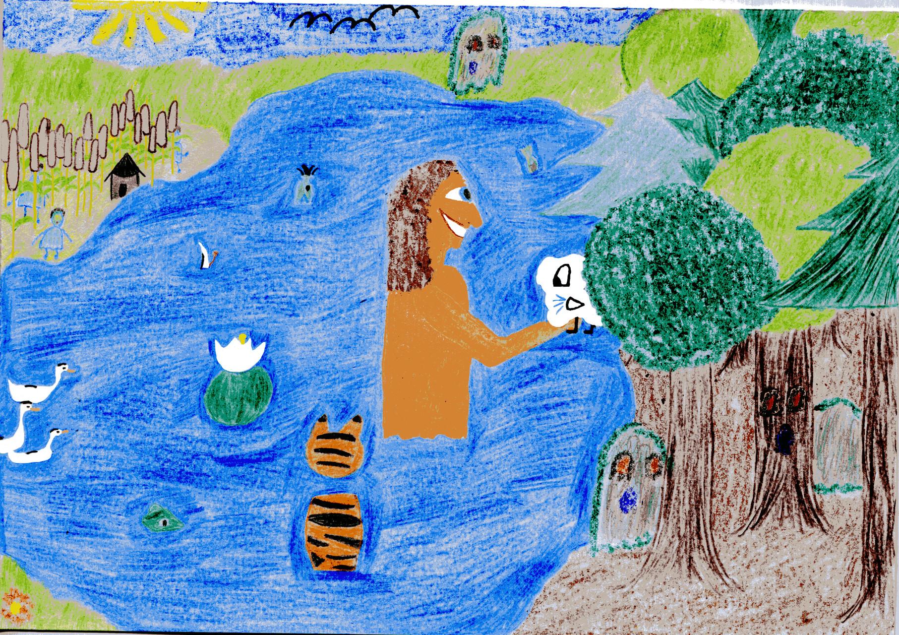 Dorothea und ihre Freunde baden im Teich