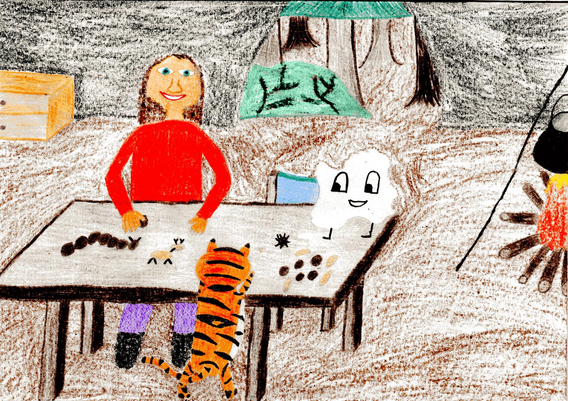 Dorothea und der Tiger basteln mit Kastanien