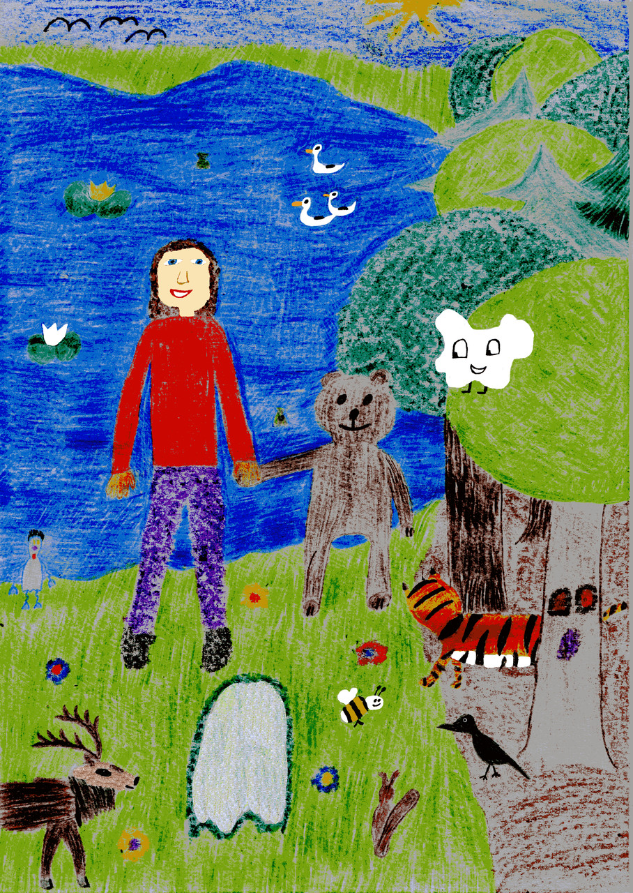 Dorothea bringt den Bären zum Teich der Waldgespenster