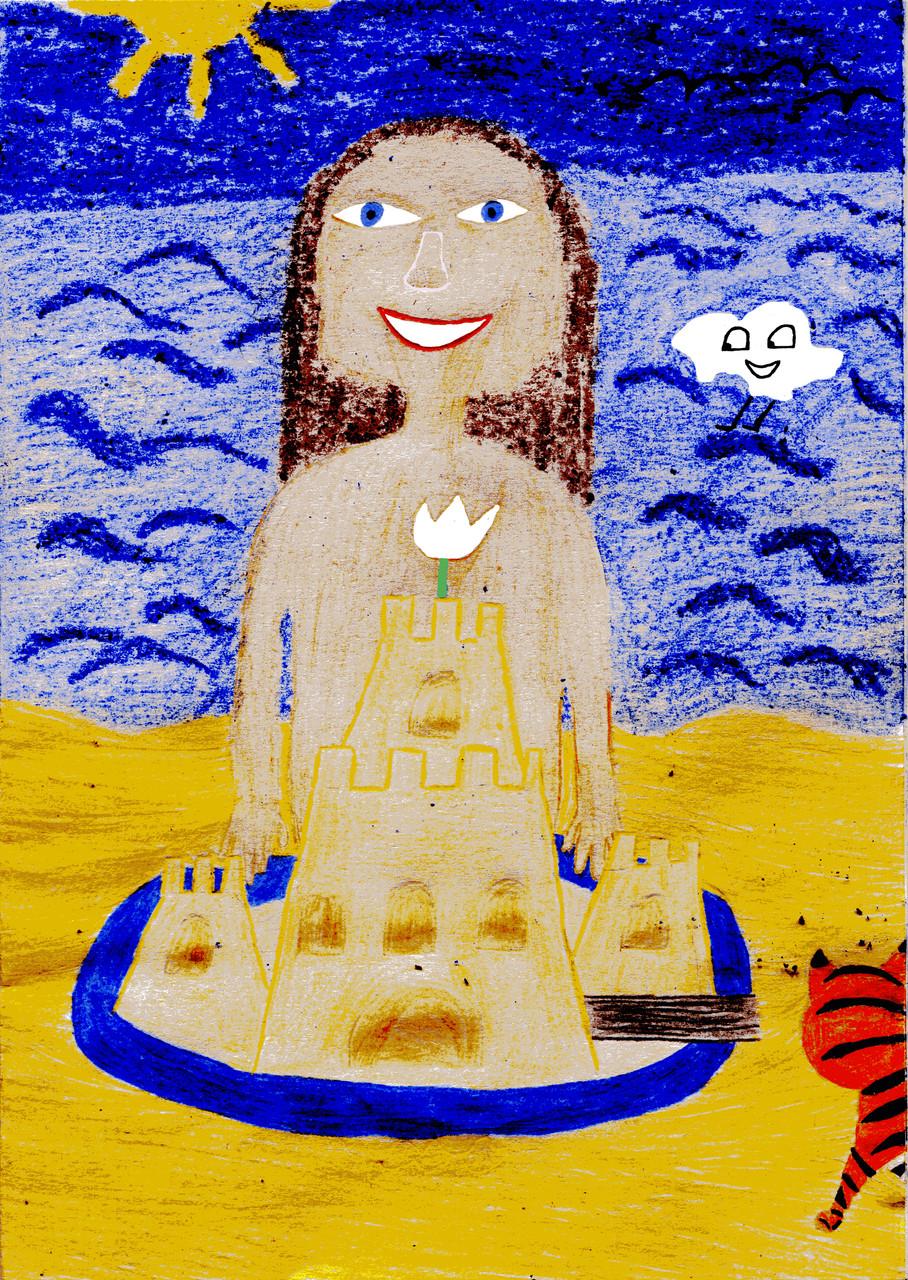 Dorothea baut eine Sandburg