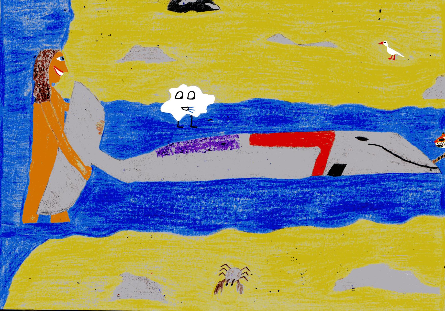 Dorothea zieht den Wal ins Meer