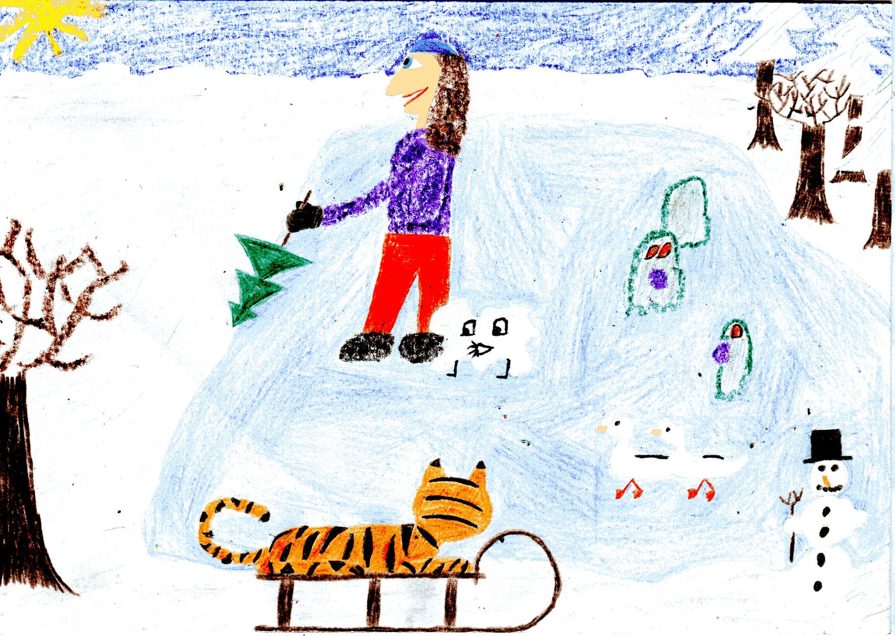 Dorothea fegt mit ihren Freunden den Schnee vom Teich