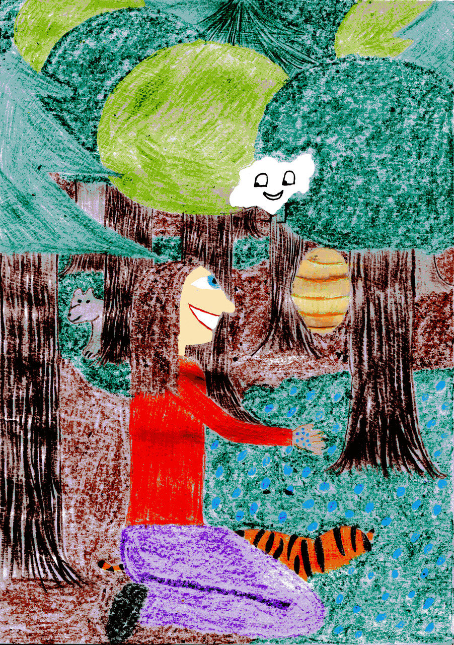 Dorothea und der Tiger naschen Blaubeeren