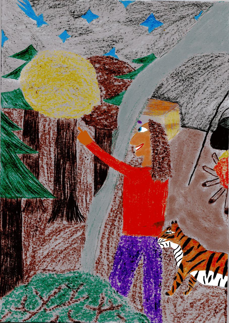 Dorothea und der Tiger sehen einen fallenden Stern