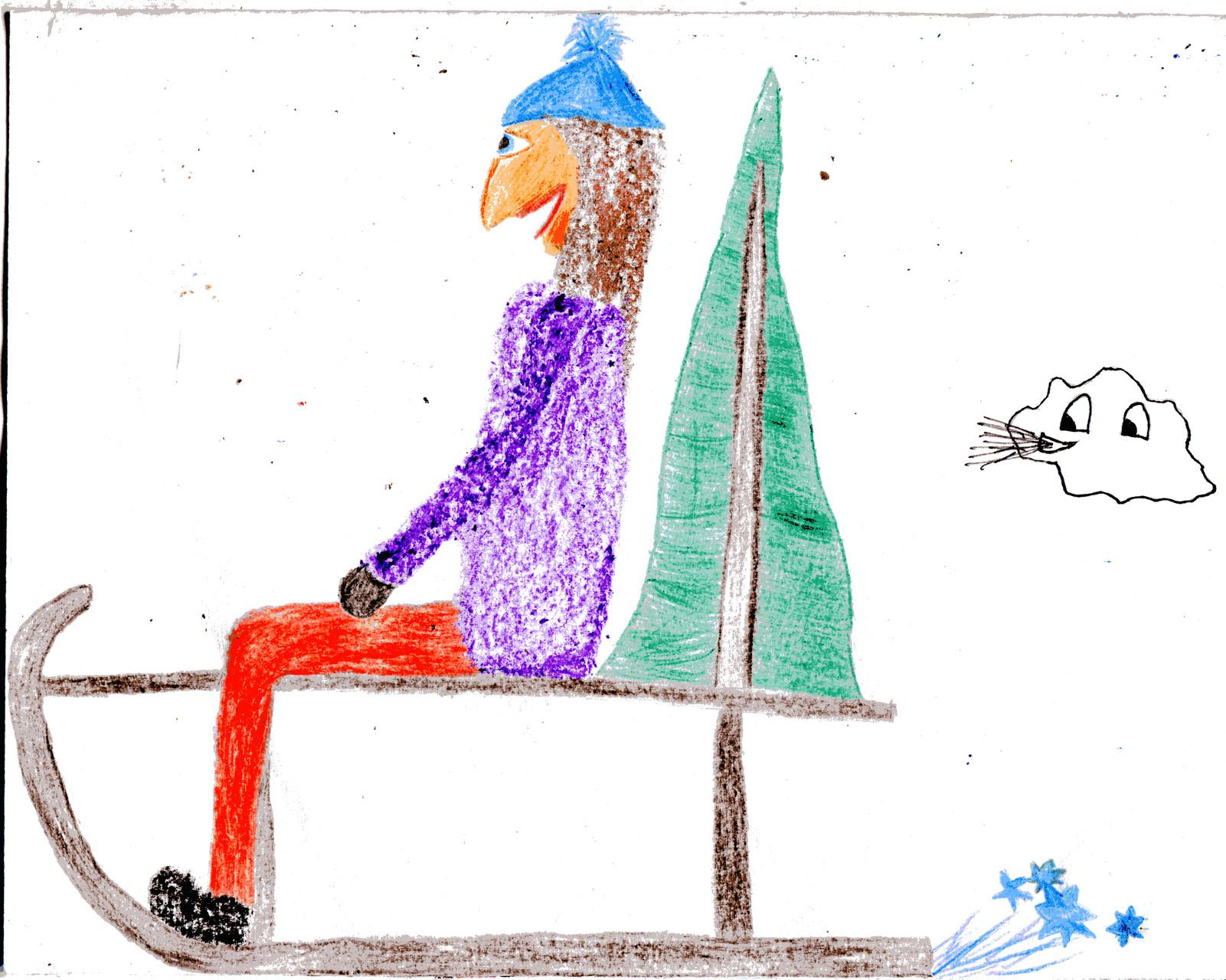 Dorothea und Sausewind fahren Schlitten