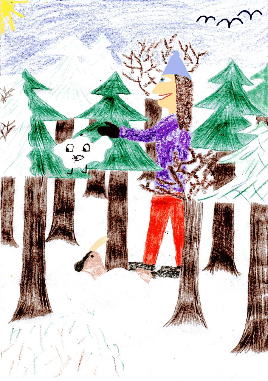 Dorothea hilft Sausewind, den Schnee von den Bäumen zu schütteln