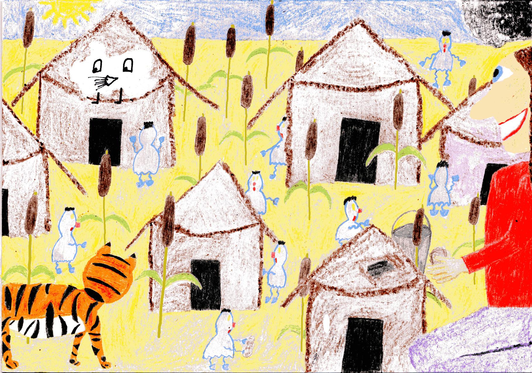 Dorothea beklebt die Hütten der Wasserkobolde mit Rinde