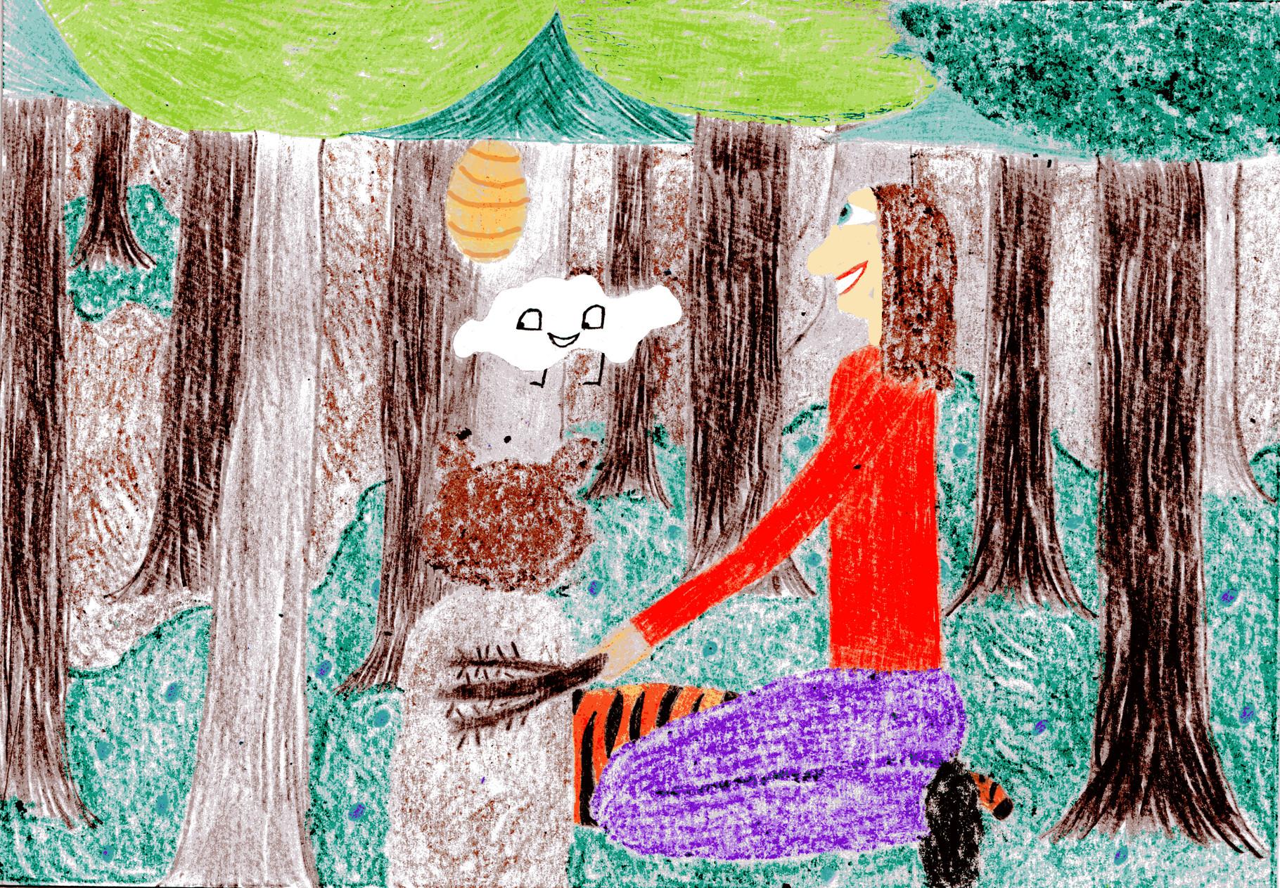 Dorothea bürstet dem Bären das Fell