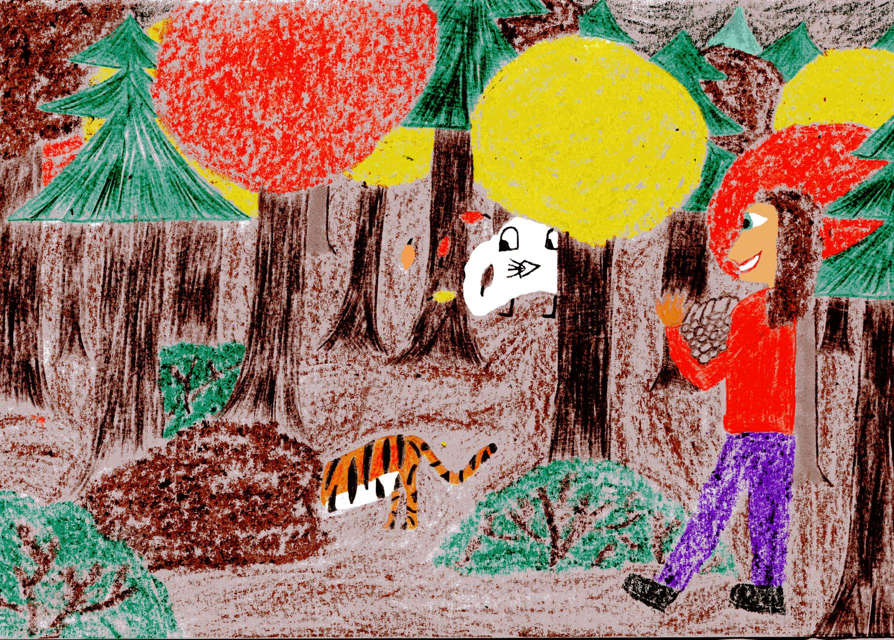 Dorothea, Sausewind und der Tiger bauen eine Höhle für die Fledermäuse